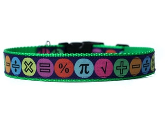 1 Inch Wide Dog Collar with Adjustable Buckle or Martingale in Math Geek an Exclusive Design
