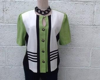 Statement vintage green/black/white top