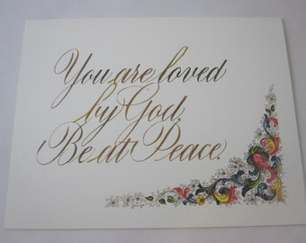 You are Loved by God. Be at Peace. One folded card with envelope
