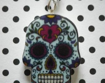 Light blue detailed sugar skull charm pendant necklace