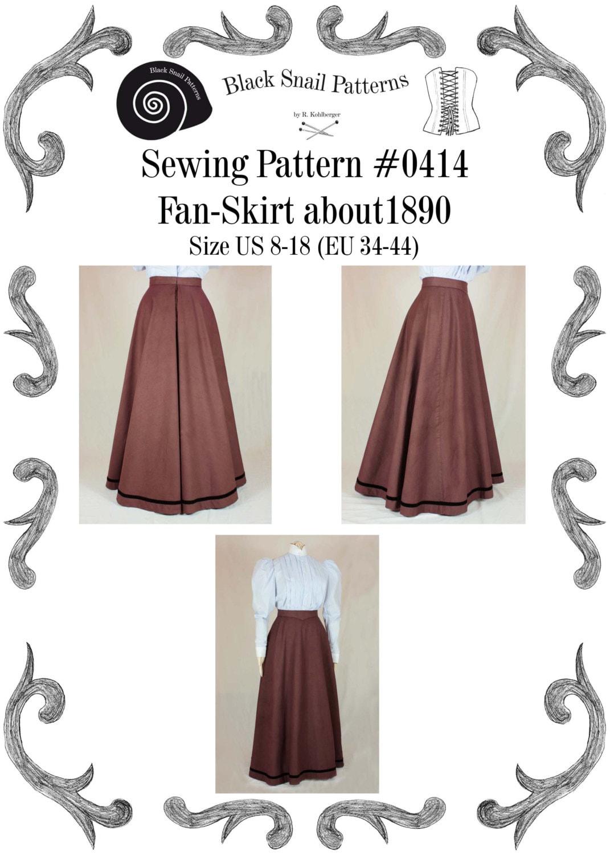 Edwardian Skirt Fan-Skirt worn about 1890 Sewing Pattern