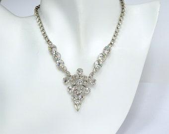 Brilliant Clear Rhinestone V Necklace – 1950s Necklace – Vintage Necklace – Vintage Jewelry - Statement Necklace