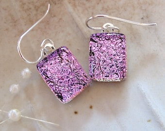 Pink Earrings, Petite, Dichroic Glass Earrings, Fused Glass Jewelry, Sterling Silver, Dangle, A5