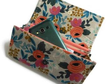 Women's wallet, floral wallet, linen wallet, fabric wallet, rifle paper co