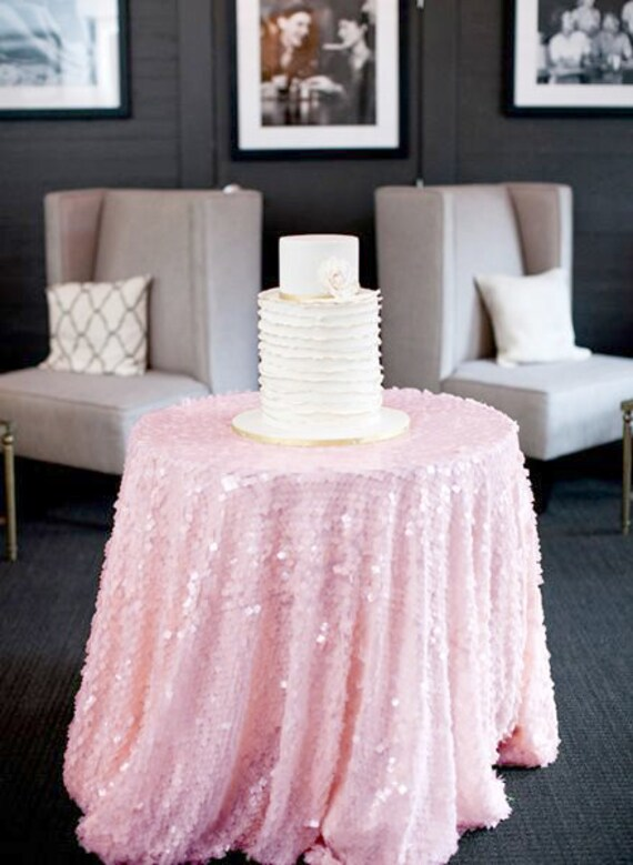 Baby Pink Sequin Tablecloth Made To Order Shiny Blush Light