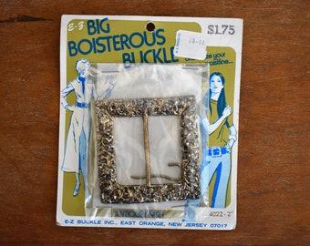 1970's Vintage Big Boisterous Belt Buckle / Antique Finish