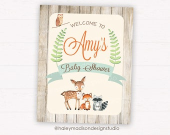 Woodland Baby Shower Welcome sign, Rustic Woodland Baby shower sign, Door sign, Table sign DIGITAL FILE HM111