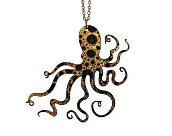 """An Octopus Love Affair Necklace - Small 2.5"""" Gold Ink Splatter Octopus Necklace (C.A.B. Fayre Original Design)"""