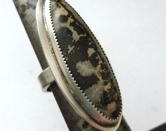 Long Silversmith Cocktail Ring Chinese Painting Jasper Adjustable