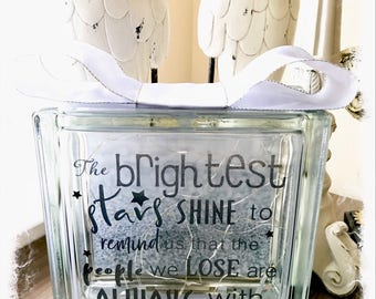 BRAND NEW Glass Block Light - Remembrance 'The brightest stars shine to remind us that the people we lose are always with us'