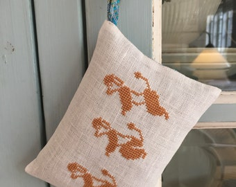 Handmade Poodles Embroidery Large Organic Lavender Sachet Liberty of London Fabric Peacock Feather Print