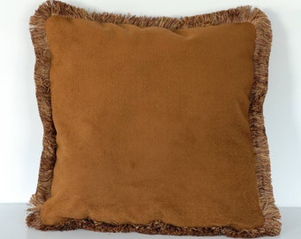 cotton velvet burnt orange throw pillows with fringe for sofa chair or bed