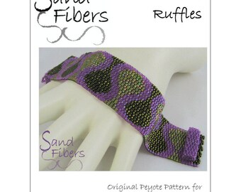 Peyote Pattern - Narrow Fall Ruffles Peyote Cuff / Bracelet  - A Sand Fibers For Personal/Commercial Use PDF Pattern