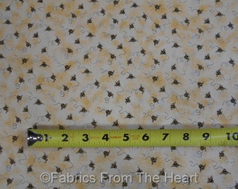 Bumble Bees BUZZ Garden on Tan Yellow  BY YARDS Timeless Treasure Cotton Fabric