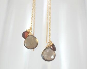 Threader Earrings, Gold Earrings, Delicate Gemstone Earrings, Delicate Threader Earring, Tourmaline Earring, Gold Dangle Earrings, Gold Drop