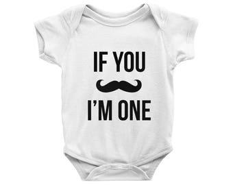 If you mustache im one Onesie, Baby Boy Onesies, First Birthday Onesie, 1st Birthday Onesies, If you mustache I'm One Bodysuit, Boy's Onesie