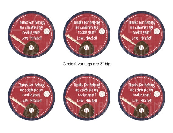 Baseball party 3 round favor tags stickers gift bag like this item negle Images