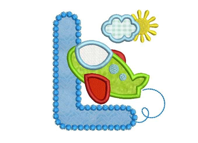 Airplane Letter L Applique Embroidery Design for Boys Summer