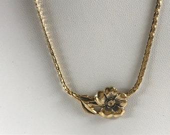 Gold Tone Pansy Flower Vintage Necklace