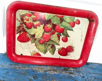 Vintage Red Strawberry Tin Tray