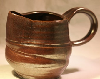 Brown Pottery Creamer / Small Pitcher