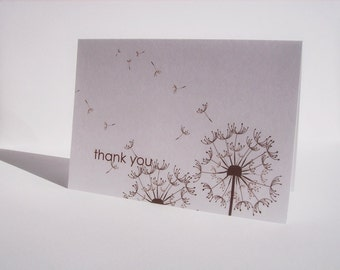 Dandelion Thank You Card Set - Dandelions, Spring Summer Fall Folded Thank You Notes, White Brown Dandelion Card Set