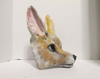 Fennec Fox, Animal spirit mask, zootopia cosplay, hand painted, masquerade mask, animal totem, mask, Fox costume, made to order, custom made
