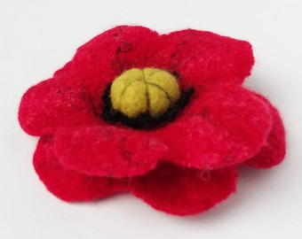 Red Poppy Flower Hand Felted Soft Merino Wool Brooch Pin Christmas Valentine Mothers Day Birthday Gift Present