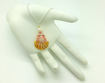 Sunrise Shell, Coral, Freshwater Pearl & Carnelian Sterling Silver Necklace #SUN1808