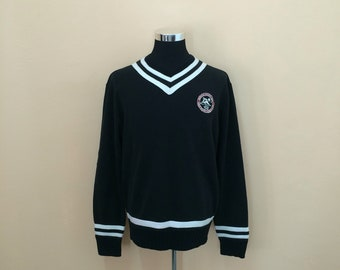Vintage 90's Polo Ralph Lauren Winter Sport Ski MCMlxvii V-Neck Sweatshirt Nice Design // Polo Sport // Polo Ski