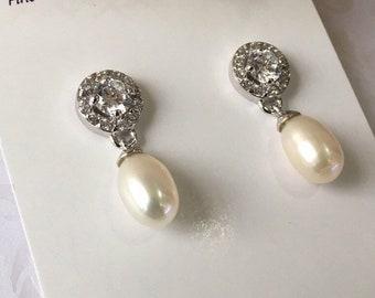 Bridal Earrings, Drop Pearl Earrings, Ivory Freshwater Pearl Earrings, Wedding Earrings, Bridal Jewelry, Sterling Silver