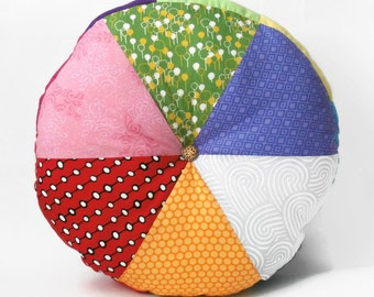 """The story continues... 16"""" Handmade Stuffed Circular Wedge Cushion / For the home / Home Decor / Throw Pillow / Floor Pillow / Modern Pillow"""