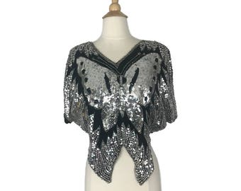 Sequined Silk Butterfly top