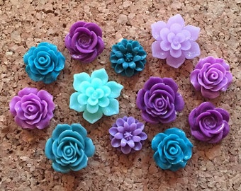Flower Thumbtacks or Magnets Set of 12 - (#162) dorm decor, hostess gift, weddings, bridal shower, baby shower, gift, teacher gift
