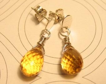 Citrine Briolette Gemstone Sterling Silver Earrings