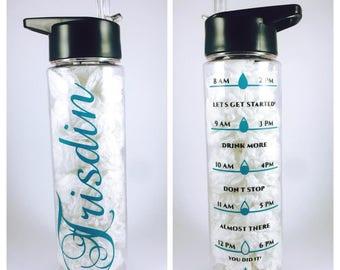 Personalized Drink Bottle with Intake Tracker, drink times water bottle, 750ml, BPA free, Tritan Bottle