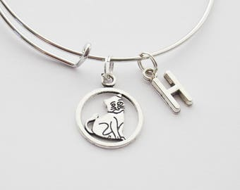 Cat bangle, Kitten Bracelet, Cat Lover Bangle, Cat Charm Bracelet, Pet Adoption Bracelet, Adopt bangle, Cat Lover Gift, Cat Lady Bangle