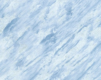Snowdrift Fabric with Glitter; CM5213; 1/3 Yard, 1/2 Yard, By the Yard; Timeless Treasures; Ice; Holiday; Blue