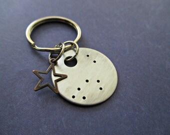 capricorn constellation - hand stamped zodiac keychain with bronze star charm