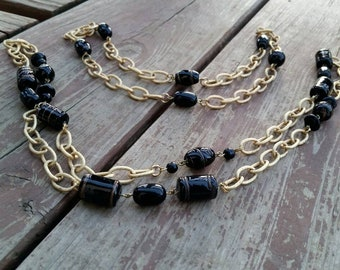Set of 2 - Black beads with gold swirls and gold chain hand linked layered necklaces - one of a kind chunky statement jewelry