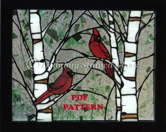 "PDF PATTERN for Stained Glass Panel ""Cardinals in the Spring""  (Pattern Only)"