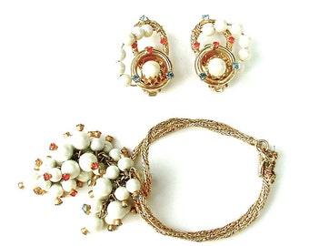 HOBE Designer Bracelet Earrings Vintage Beaded Rhinestone Jewelry SGlamour Fashion Collectibles