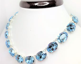 Aquamarine Swarovski Crystal Necklace Anna Wintour Style Necklace Blue Georgian Collet Choker Pretty Designer Inspired LynnsGemCreations
