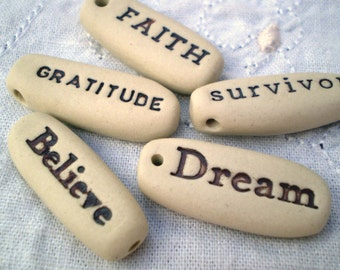 Ceramic Beads, Inspirational Word Beads, Motivational Quote Jewelry