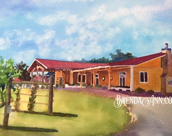 Cape May Willow Creek Winery -Cape May New Jersey Art - Hand Signed Archival Watercolor Print Wall Art by Brenda Ann