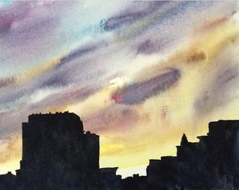 NYC skyline, NYC watercolor, NYC art, Chinatown Ny, Urban painting, sunset painting, Sky painting, Sky watercolor, urban landscape,buildings