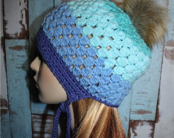 Puff Stitch Fur Pom Pom Slouchy Bonnet, Teen Hat, Blue Blaze Colors, Winter Hat, Ties, Crochet Beanie, Unique, One of a Kind, READY TO SHIP