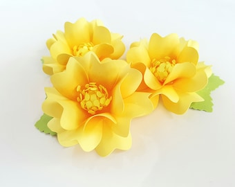 Handmade Paper Flower Embellishments - Flowers - Scrapbook - Party Supply - Bridal Supply - Birthday Supply  - Gift Wrap - Sunny Yellow