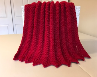 Crocheted Ripple Baby Afghan- Red