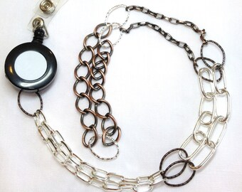 Reversible Mixed Metal Lanyard/Retractable ID Badge Necklace